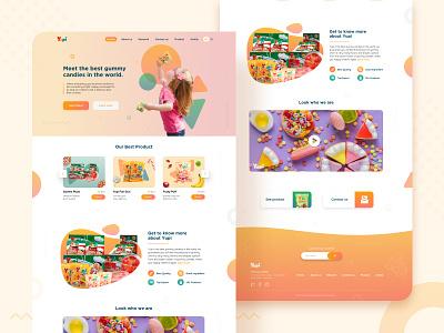 Gummy Candies Home Page gradient food candy candies interaction ux ui design desktop clean website