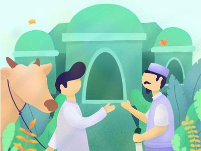 Feast of Sacrifice eid mubarak muslim illustration flat