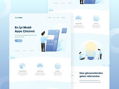 Turkimob Website Exploration flat ui design design user experience userinterface web design blue illustration desktop clean ux website ui