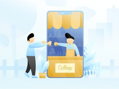 Coffequ App Illustration selling ecommerce app blue flat design sell buy coffeeshop coffee flat vector branding design illustration