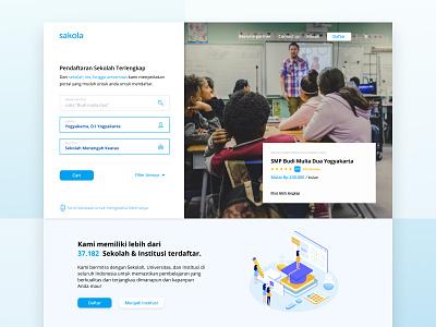 Sakola Website university collage academy school desktop design design clean desktop flat ux ui website