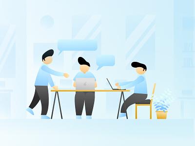 Discussion Illustration bussines work branding blue vector discussion design clean flat illustration