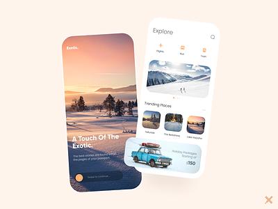 Travel App uiux product mobile mobile app graphic design minimal colors dribbble best shot dribbble design snow travel app app design ux design ui design ux ui clean