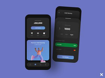 Wallet App product mobile payment app money fintech wallet app app design dark colors minimal clean dribbble best shot dribbble design uiux ux design ui design ux ui