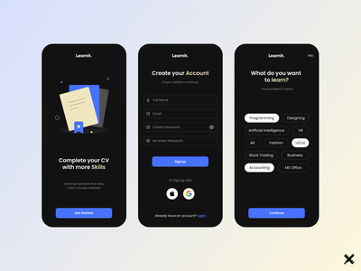 Learning App Design. learn product design illustration illustrated colors minimal courses learning app product mobile uxui uiux ux design ui design ux design ui dribbble best shot dribbble clean