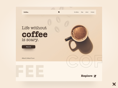 Coffee Shop Landing Page coffee website graphic design typography landing page web webdesign product minimal design clean coffee shop uiux uxui dribbble best shot dribbble ux ui