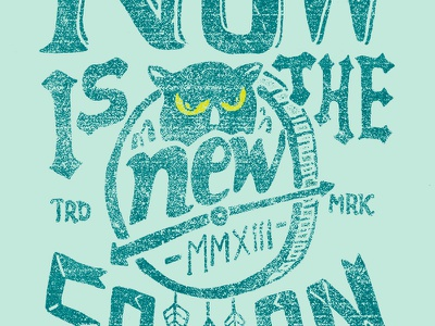 Now Is The New Soon time owl now soon illustration t-shirt skitchman