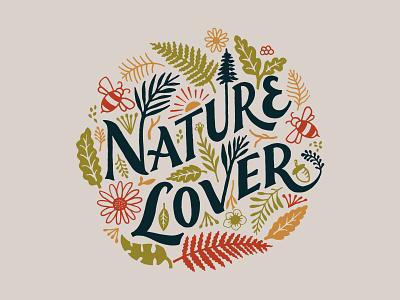Nature Lover handlettering branding inspiration vintage merch design typography skitchism t-shirt lettering illustration