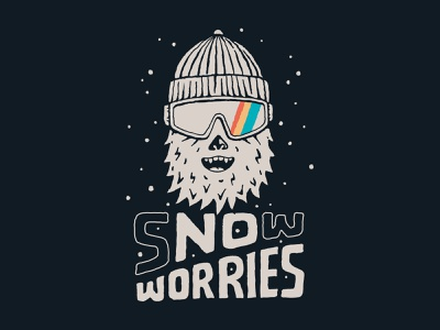Snow Worries branding handlettering vintage inspiration merch design typography skitchism t-shirt lettering illustration