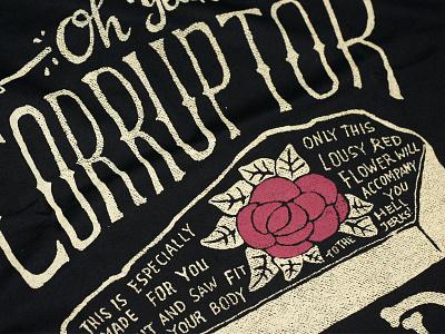 C.M.D t-shirt skitchman corruption coffin typo