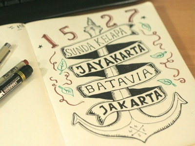 1527 jakarta anniversary pen handdrawing skitchman t-shirt sketch