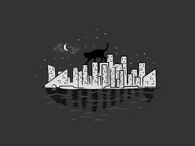 Rooftop Killer skate-e1 skitchman t-shirt cat