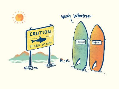 Board Conversation 2 surfboard caution beach shark skitchman summer
