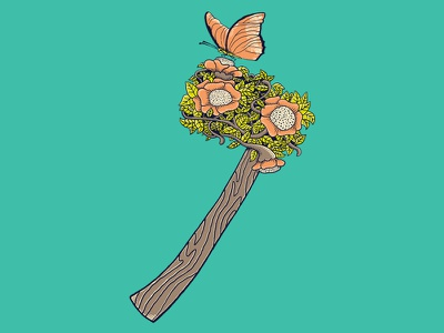Axe axe rose wood illustration butterfly skitchman nature t-shirt design