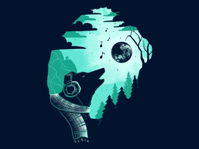 Sound Recording wolf forest night music illustration negatif space moon t-shirt skitchman