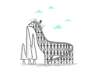 Brontocoaster brontosaurus rollercoaster illustration tatakwaskitho skitchman funny