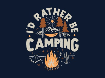 Rather Be Camping handlettering branding inspiration vintage merch design typography skitchism t-shirt lettering illustration