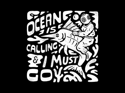 Ocean is Calling handlettering branding inspiration vintage merch design typography skitchism t-shirt lettering illustration
