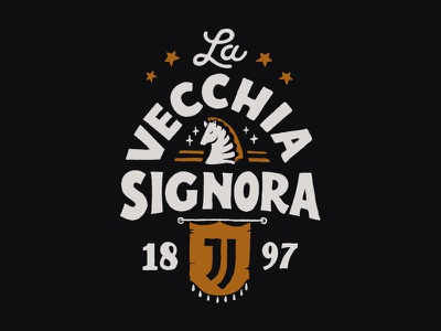 La Vecchia Signora inspiration brand merch design vintage typography skitchism t-shirt lettering illustration