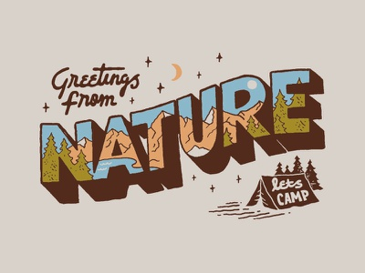 Nature Greetings inspiration logo handlettering branding t-shirt vintage merch design skitchism lettering typography illustration