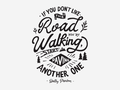 The Walking Road vintage inspiration branding handlettering merch design typography skitchism t-shirt lettering illustration