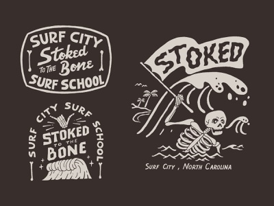 Stoked to the Bone merch handlettering branding vintage merch design typography skitchism t-shirt lettering illustration