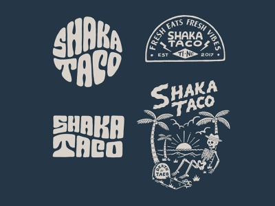Shaka Taco inspiration vintage handlettering branding merch design typography skitchism t-shirt lettering illustration