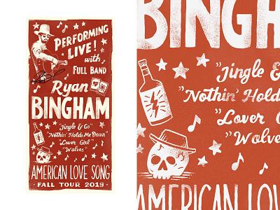 Ryan Bingham Fall Tour 2019 inspiration merch design branding handlettering vintage t-shirt skitchism typography lettering illustration
