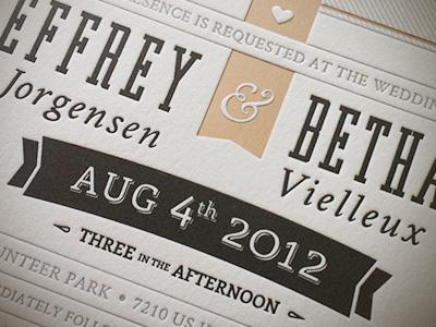 Printed Wedding Invite wedding invite vintage type typography letterpress texture print design
