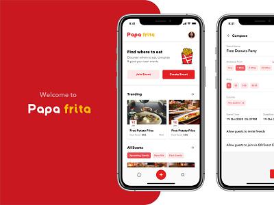 Food event app design publish edit compose add trending event illustration material design ios food app design app interaction design ux ui