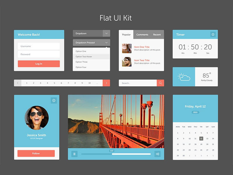 Complete UI Kit flat ui widget interface date weather search sign up profile video player tab ui kit
