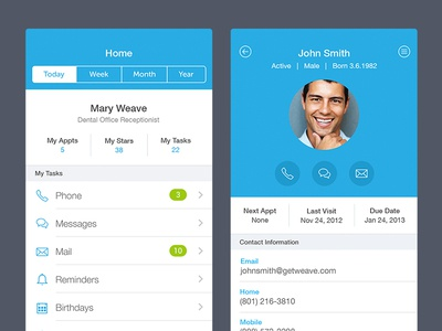 Dental Application application widget flat ios 7 simple iphone call message email user profile dashboard