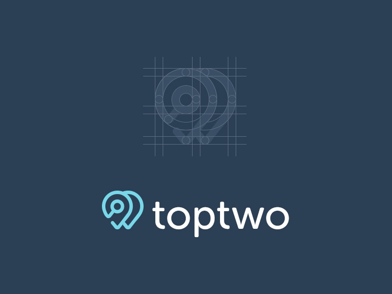 Top Two Logo logo typeface logotype brand branding clean notch mark map pin location map simple