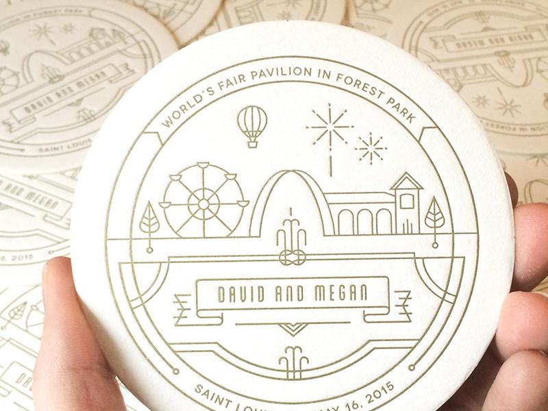 Wedding Coaster coaster print branding st. louis letterpress logo seal badge illustration gold notch wedding