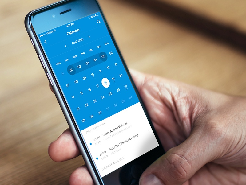 iOS Calendar planner ux ui event notch calendar mobile flat application app iphone ios