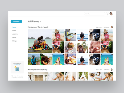 Photo Library layout clean website feed notch ux ui desktop web app responsive