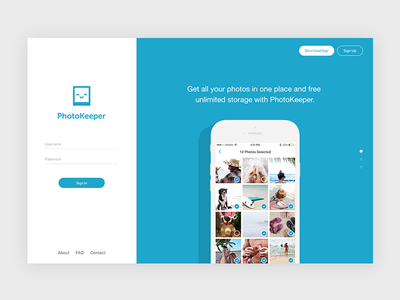 PhotoKeeper Landing Page download sign up homepage website ux ui app iphone landing page