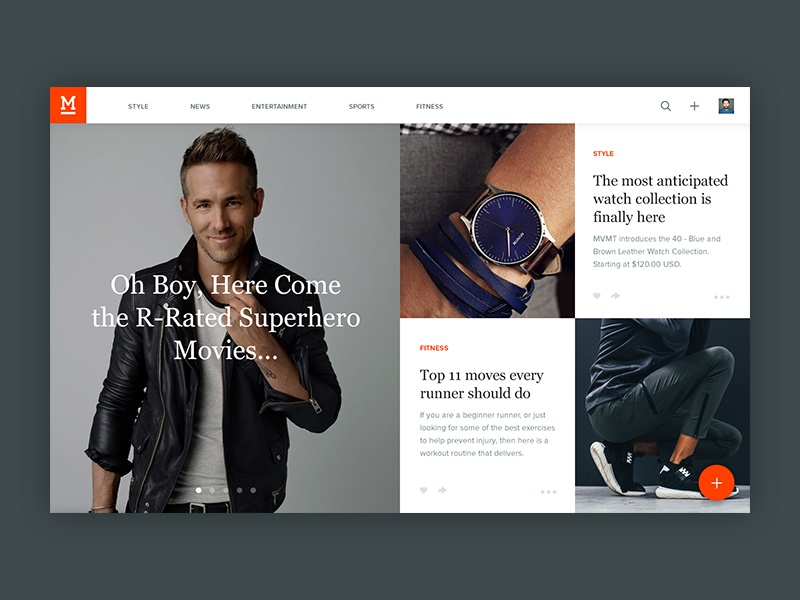 Manstand Feed responsive feed entertainment style branding notch ux ui magazine application web website