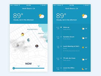 Sunshine Timeline map activity feed timeline ux ui notch weather iphone ios app sunshine