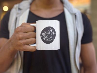 Notch Mug font type custom letter typography coffee mug notch madebynotch branding