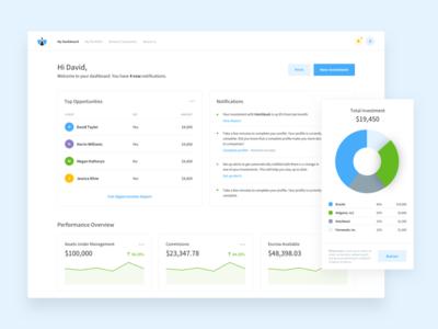 Investor Dashboard WIP report home flat finance notch statistics ux ui graph chart dashboard analytics