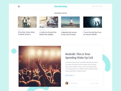 ClarityMoney Homepage blog articles featured branding notch ux ui website homepage