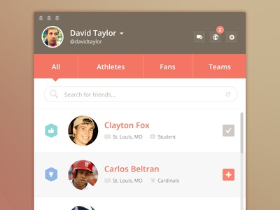Search for friends list contact user ui friend follow list search icon profile notification athlete sports application widget clean simple