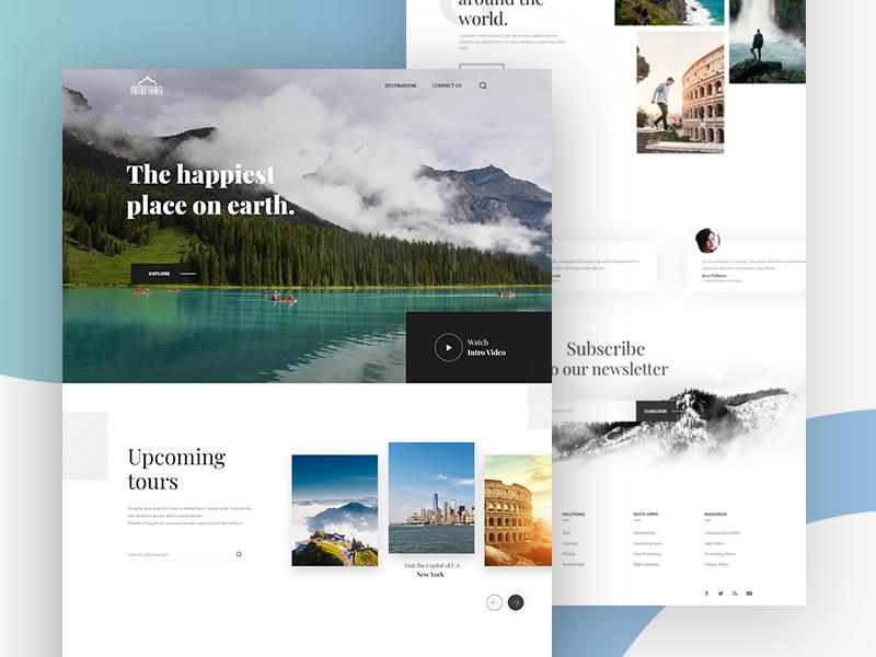 Marvel Travels - Startup Travel Agency trip tour review minimal website design landing page ux booking ui debut startup travel agency travel