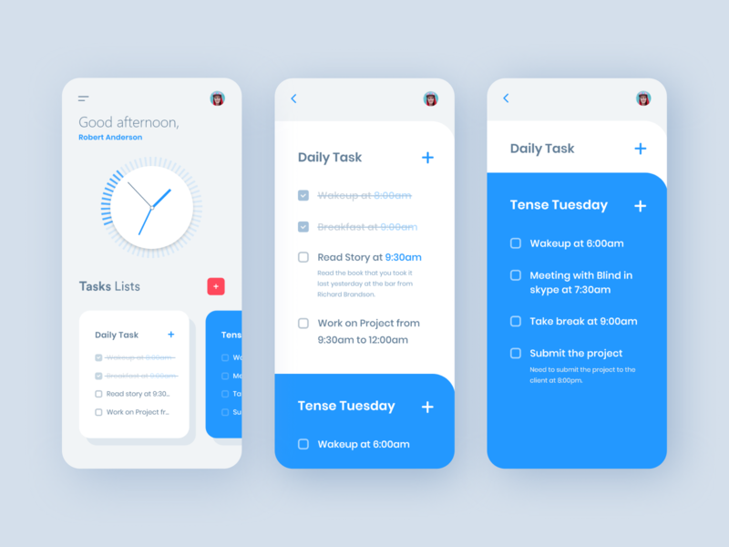 Taskmanager - Todo List App manager 2019 trend app design colorful interface check list app minimal typography design dashboard ux activity ui