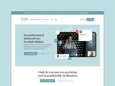 BloomUp.org – Landing Page psychology health apps ehealth conferencing video teleconsultations mental health ux uiux landing page saas app ui