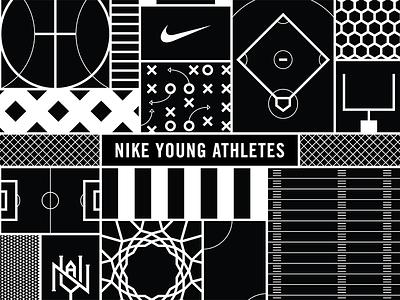 Nike Young Athletes nike young athletes sports basketball football baseball soccer illustration graphic design pattern