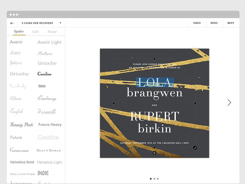 Cards! webdesign ui customize toolset editing paperless post