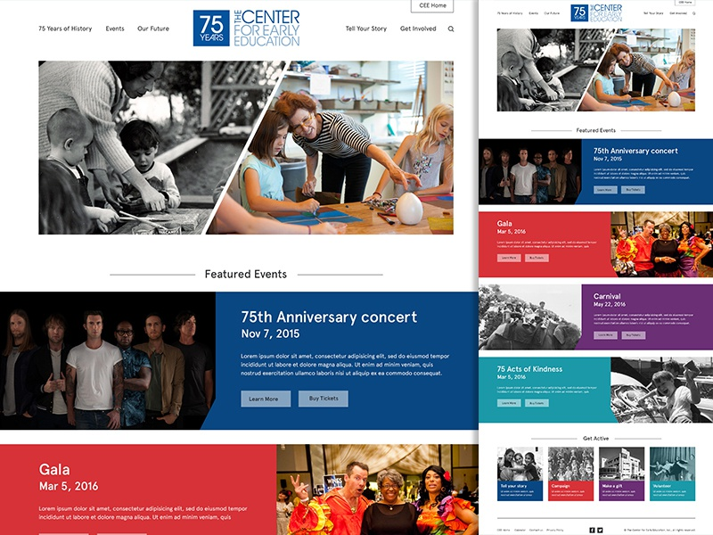 CEE 75th Anniversary Homepage web homepage ui education anniversary events website center for early education