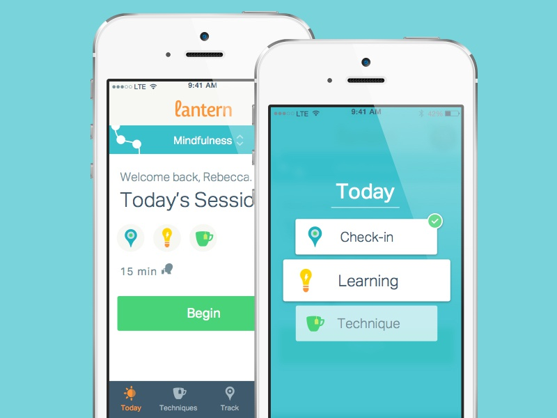 Today's Session progress healthy happy blue navigation app mobile ios